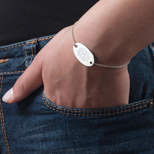 Engraved Oval Monogram Bracelet - 3