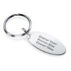 Engraved Oval Tag Keychain in Sterling Silver