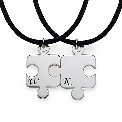 Engraved Puzzle Necklace for Couples with Birthstone - 3