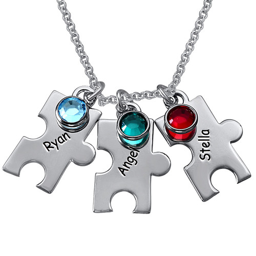 Engraved Puzzle Necklace for Mothers