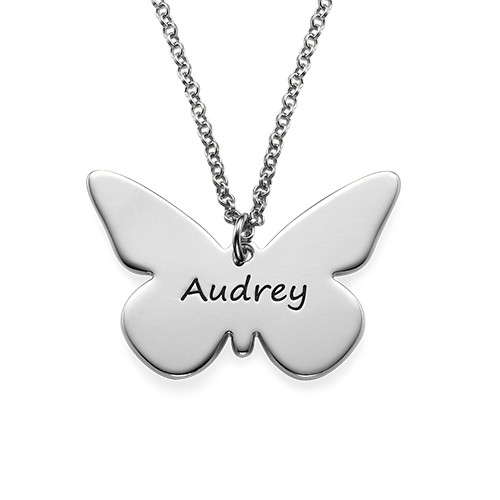 0c6c2d106 Engraved Silver Butterfly Pendant Necklace | My Name Necklace