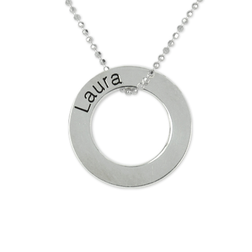 Engraved Silver Circle Necklace