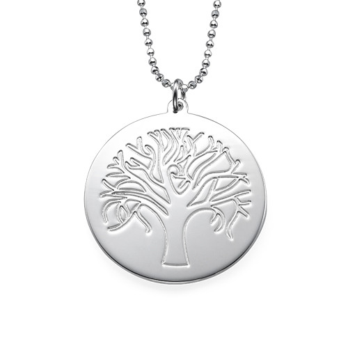Engraved Tree Necklace in Sterling Silver