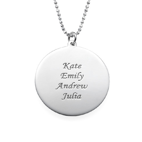 Engraved Tree Necklace in Sterling Silver - 1
