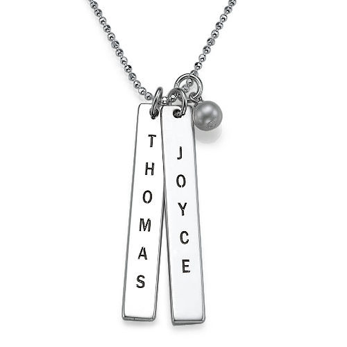 Engraved Vertical Bar Necklace in Sterling Silver