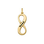 Engraved Vertical Infinity Charm - Gold Plated