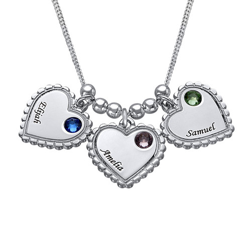 Engraved Vintage Heart Necklace with Birthstone