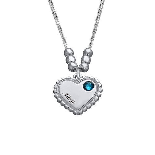 Engraved Vintage Heart Necklace with Birthstone - 1