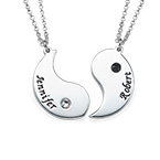 Engraved Yin Yang Necklace for Couples