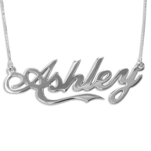 Sterling Silver Coca Cola Style Name Necklace in Double Thickness