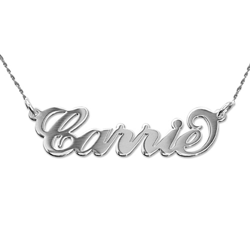 Extra Thick 14k White Gold Carrie Name Necklace
