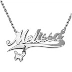 Extra Thick Silver Charm Name Necklace - Rollo Chain