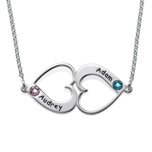 Facing Hearts Necklace with Engraving