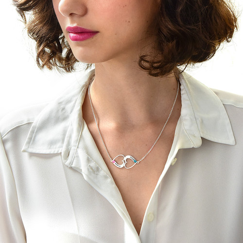 Facing Hearts Necklace with Engraving - 2