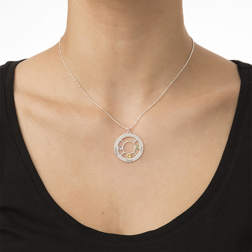 Personalized Family Circle Necklace with Birthstones - 3