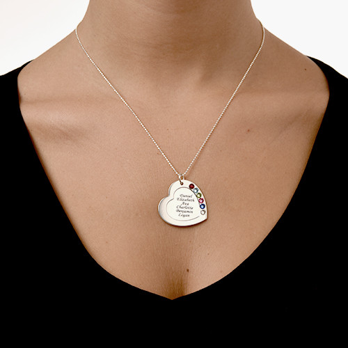 Family Heart Necklace with Birthstones - 4