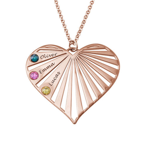 Family Necklace with birthstones in Rose Gold Plating