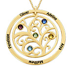 Family Tree Birthstone Necklace - 10K Yellow Gold