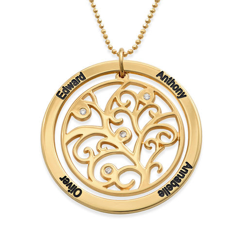 Family Tree Birthstone Necklace Gold Plated  with Diamonds