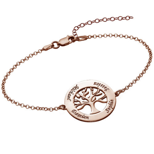 Family Tree Bracelet with Engraving - Rose Gold Plated