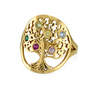 Family Tree Jewelry - Birthstone Ring with Gold Plating