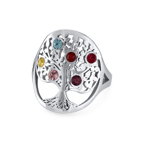 Family Tree Jewelry Birthstone Ring Mynamenecklace