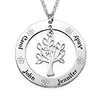 Family Tree Jewelry - Engraved Disc Necklace
