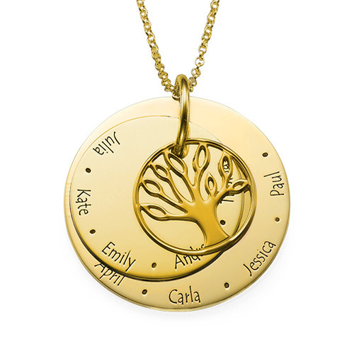 Family Tree Necklace for Moms - Gold Plated - 1