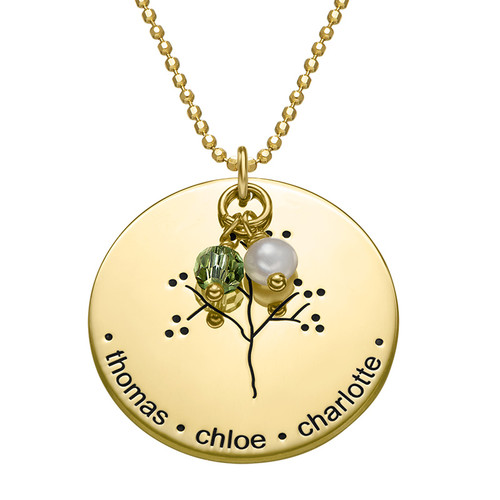 Family Tree Necklace with Gold Plating