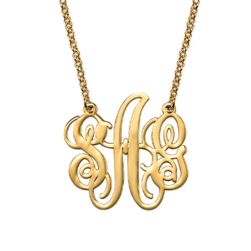 Fancy Monogram Necklace in 18k Gold Plating