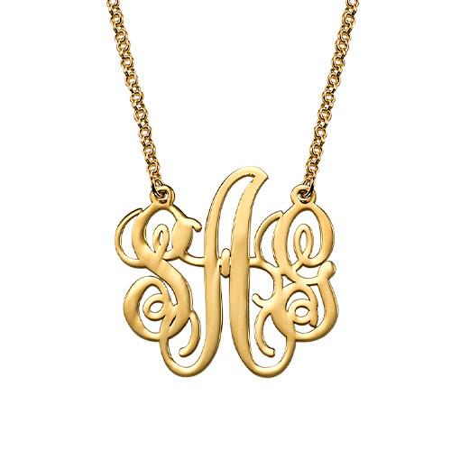 Fancy Monogram Necklace in 18k Gold Plating