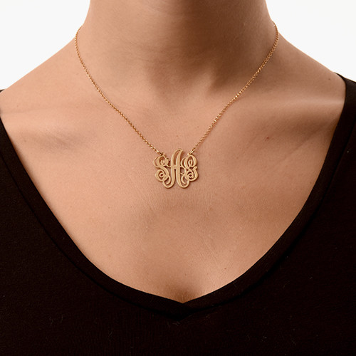 Fancy Monogram Necklace in 18k Gold Plating - 1