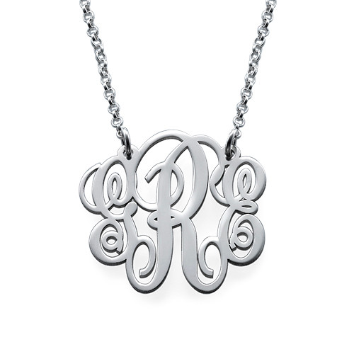 Fancy Sterling Silver Monogram Necklace