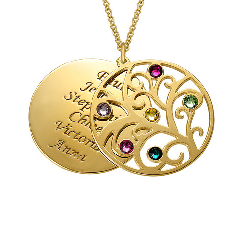 Filigree Family Tree Birthstone Necklace - Gold Plated