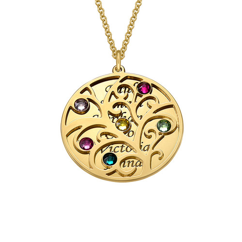 Filigree Family Tree Birthstone Necklace - Gold Plated - 1