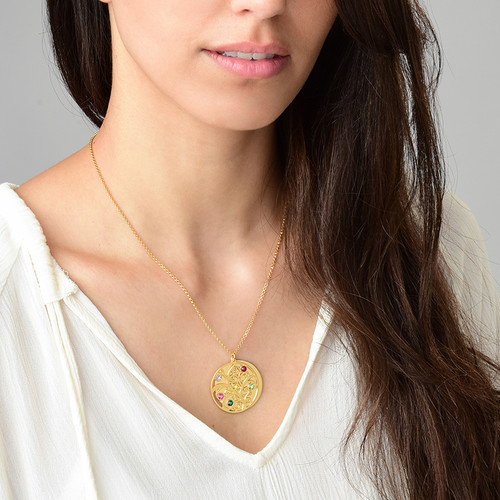 Filigree Family Tree Birthstone Necklace - Gold Plated - 3