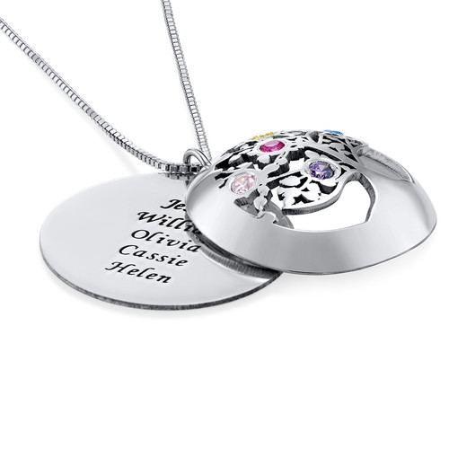 Filigree Family Tree Birthstone Necklace in Silver - 1