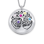 Filigree Family Tree Birthstone Necklace in Silver