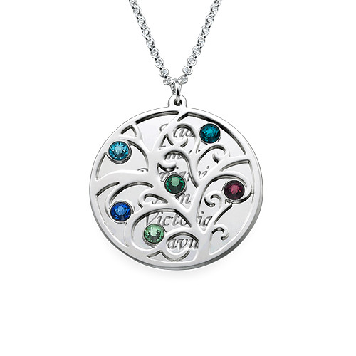 Filigree Family Tree Birthstone Necklace - 1