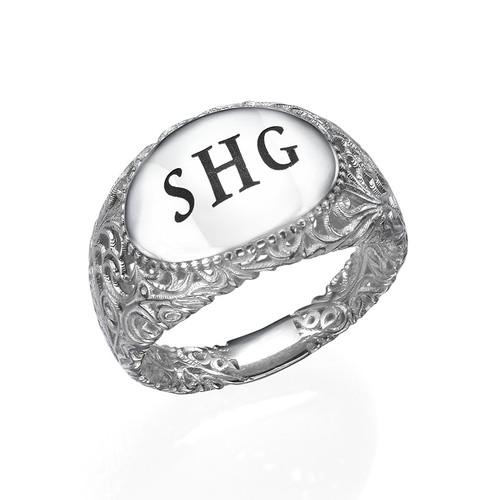 Filigree Signet Ring in Silver