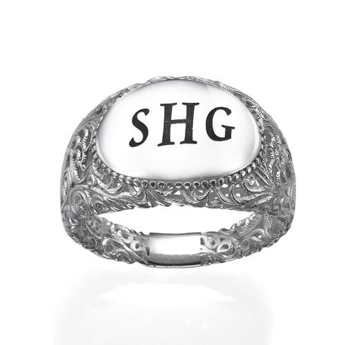 Filigree Signet Ring in Silver - 1