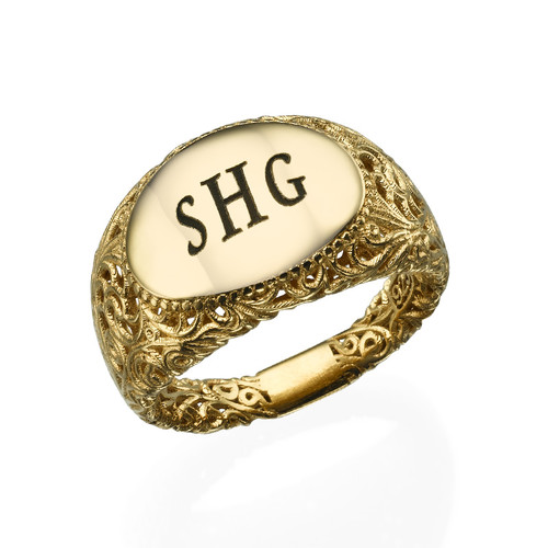 Filigree Signet Ring with Gold Plating