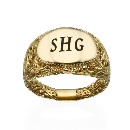 Filigree Signet Ring with Gold Plating - 1