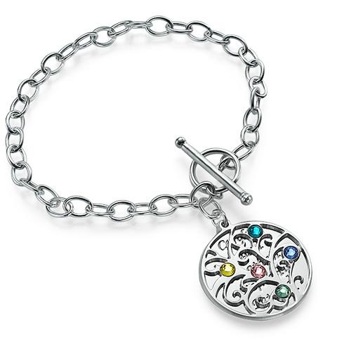 Filigree Tree of Life Bracelet with Birthstones - 1