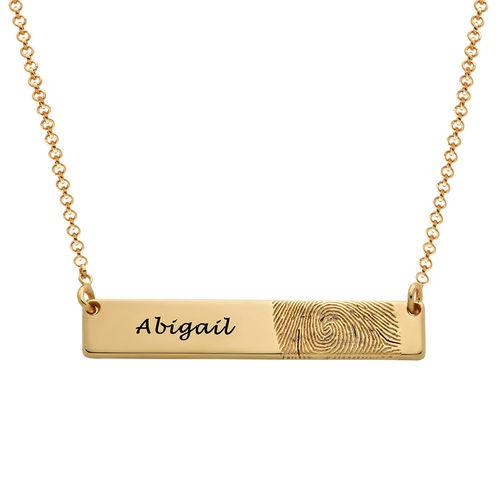 Fingerprint Bar Necklace with 18K Gold plating
