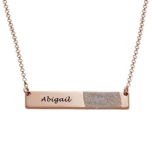 Fingerprint Bar Necklace with 18K Rose Gold plating