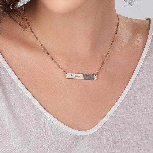 Fingerprint Bar Necklace with 18K Rose Gold plating - 2
