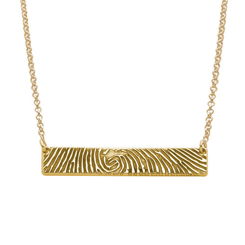 Fingerprint Bar Necklace with Back Engraving in 18K Gold Plating