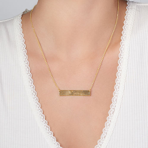 Fingerprint Bar Necklace with Back Engraving in 18K Gold Plating - 3