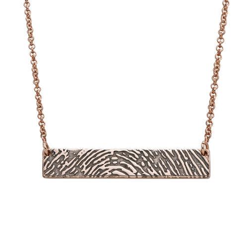 Fingerprint Bar Necklace with Back Engraving in 18K Rose Gold Plating